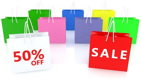 Shopping bags with fifty off percent and sale concept Stok Fotoğraf