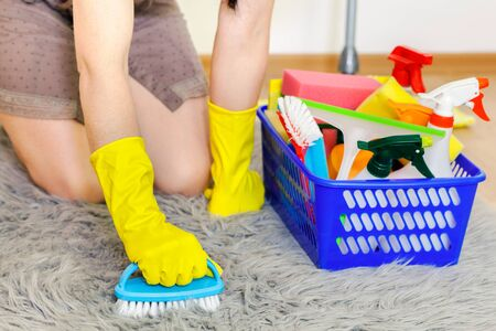 Woman in gloves cleaning faux fur rug.Housekeeping and cleaning concept
