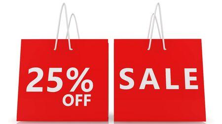 Twenty five percent off sale concept on red shopping bags Archivio Fotografico - 129566997