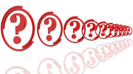 Row of question marks in red color