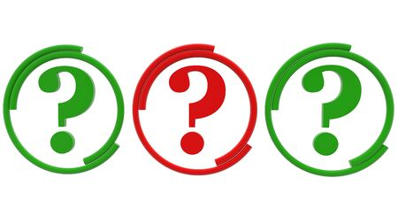 Concept of three question marks in green and red colors Zdjęcie Seryjne