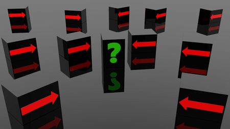 Question mark and arrow concept on black cubes