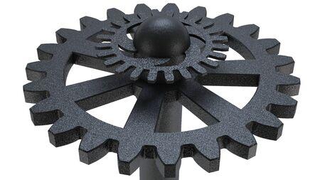 Metallic gear wheel on white background