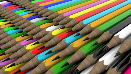 Rows of pencils in various colors