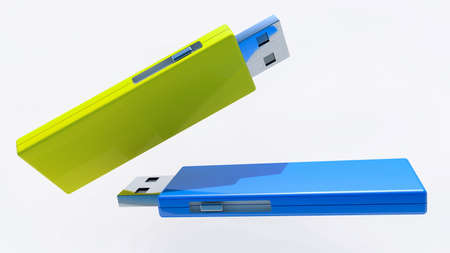 Concept of two colorful USB flash drives