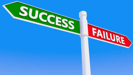 Signpost with success and failure concept Stockfoto