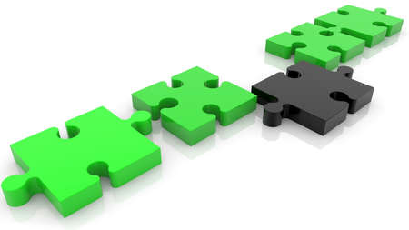 Concept of puzzle connection in black and green