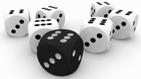 Dice concept in black and white