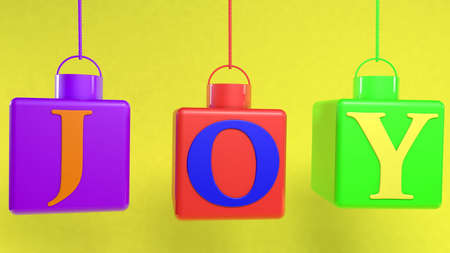 Hanging cubes with joy concept Stockfoto