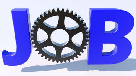 Job concept with cogwheel Stockfoto