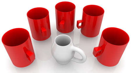 Concept of various cups in red and white