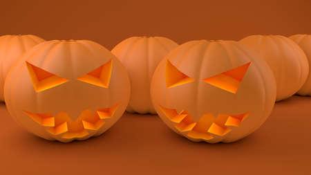 Orange carved halloween pumpkin heads