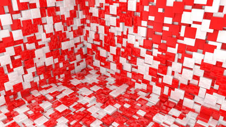 Background of cubes in red and white