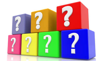 Colorful cubes with question marks