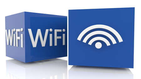 Blue cubes with WIFI concept