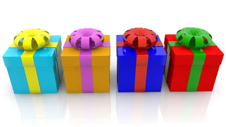 Colorful gift boxes in row