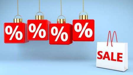 Hanging cubes with percentage signs and shopping bag with sale concept