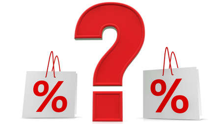 Concept of Question mark and percentage signs on shopping bags