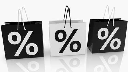 Three shopping bags with percent concept Stockfoto
