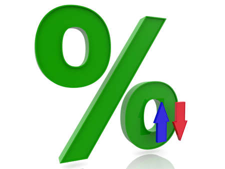 Green percentage sign with two arrows