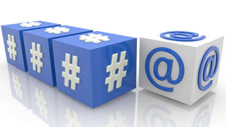 Cubes with hashtags and at sign concept Stockfoto