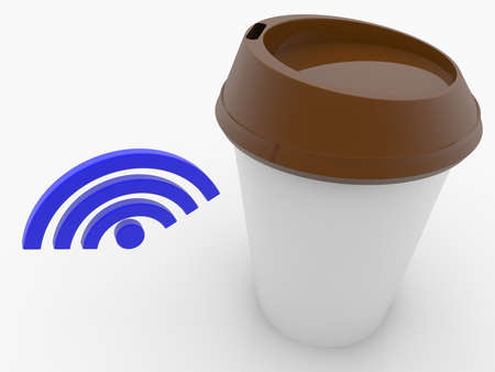 Take away coffee cup with WIFI symbol concept
