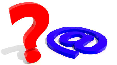 Red question mark with blue email icon concept