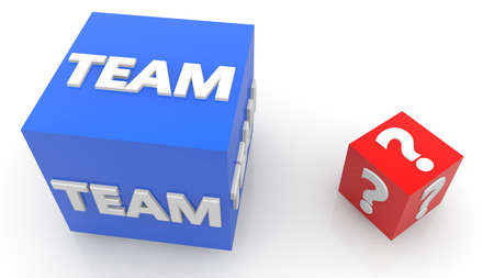 Two cubes with team and question mark concept