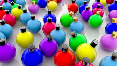 Christmas decorations in various colors