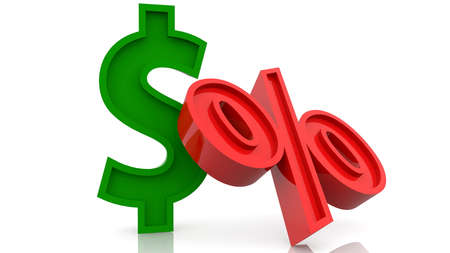 Concept of dollar and percentage signs