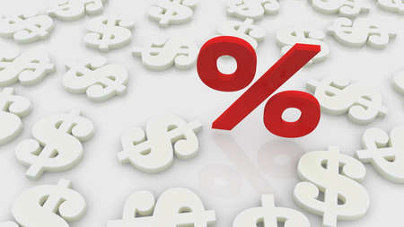 Red percentage with white dollar signs around