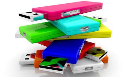 Colorful USB flash drives in randomly stack Stockfoto
