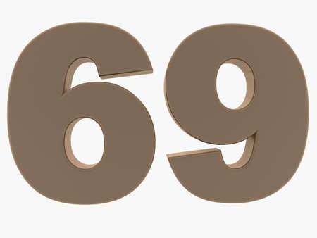 Concept of sixty nine number Stockfoto