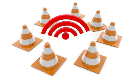 WIFI symbol with road safety cones concept