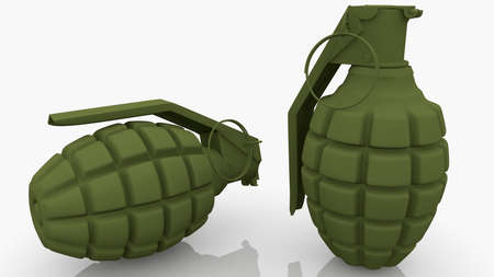 Two green hand grenades on green
