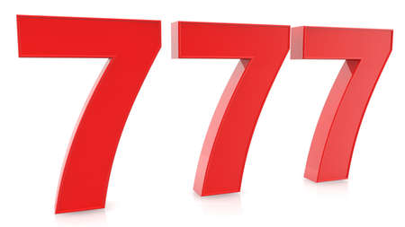 Concept of three  lucky seven numbers in red