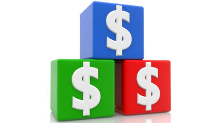 Three cubes in various colors with dollar signs Stockfoto