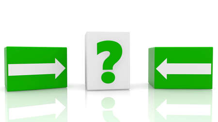 Cubes with arrow and question mark concept Stockfoto