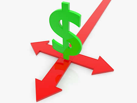 Green dollar sign with arrows to three ways Stockfoto