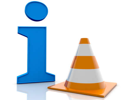 Info concept with safety road cone Stockfoto