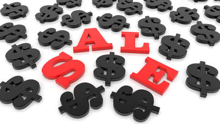 Sale concept with black dollar signs