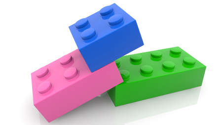 Three toy cubes in various colors