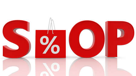 Shop concept with bag and percentage