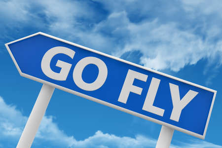 Signpost with go fly concept