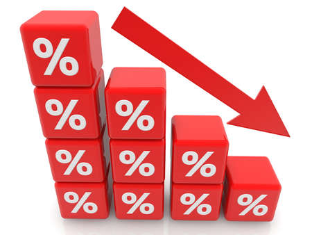 Concept of red cubes with percentage and arrow Stockfoto
