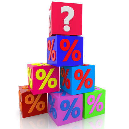Cubes with percentage signs and question mark on the top
