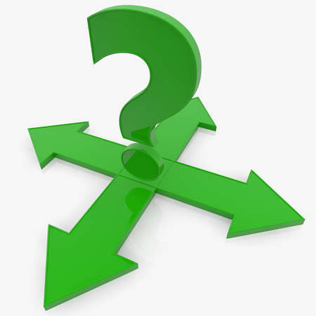 Concept of green question mark with arrows to four ways Stockfoto