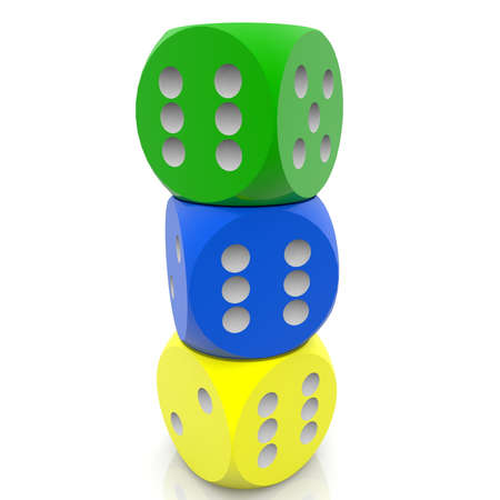 Stacked three colorful dices