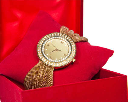 Womens Golden Watch In Red Box Stock Photo