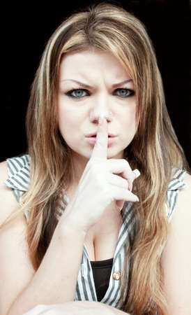 White Woman Doing Shh Sign Stock Photo - 10218320